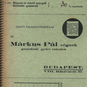 Márkus Pál Gumiáruk gyári raktára