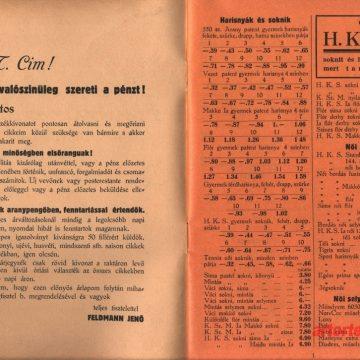 Feldmann Jenő rövidárú árjegyzéke