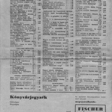 Magyar Kultúrszemle könyvjegyzék