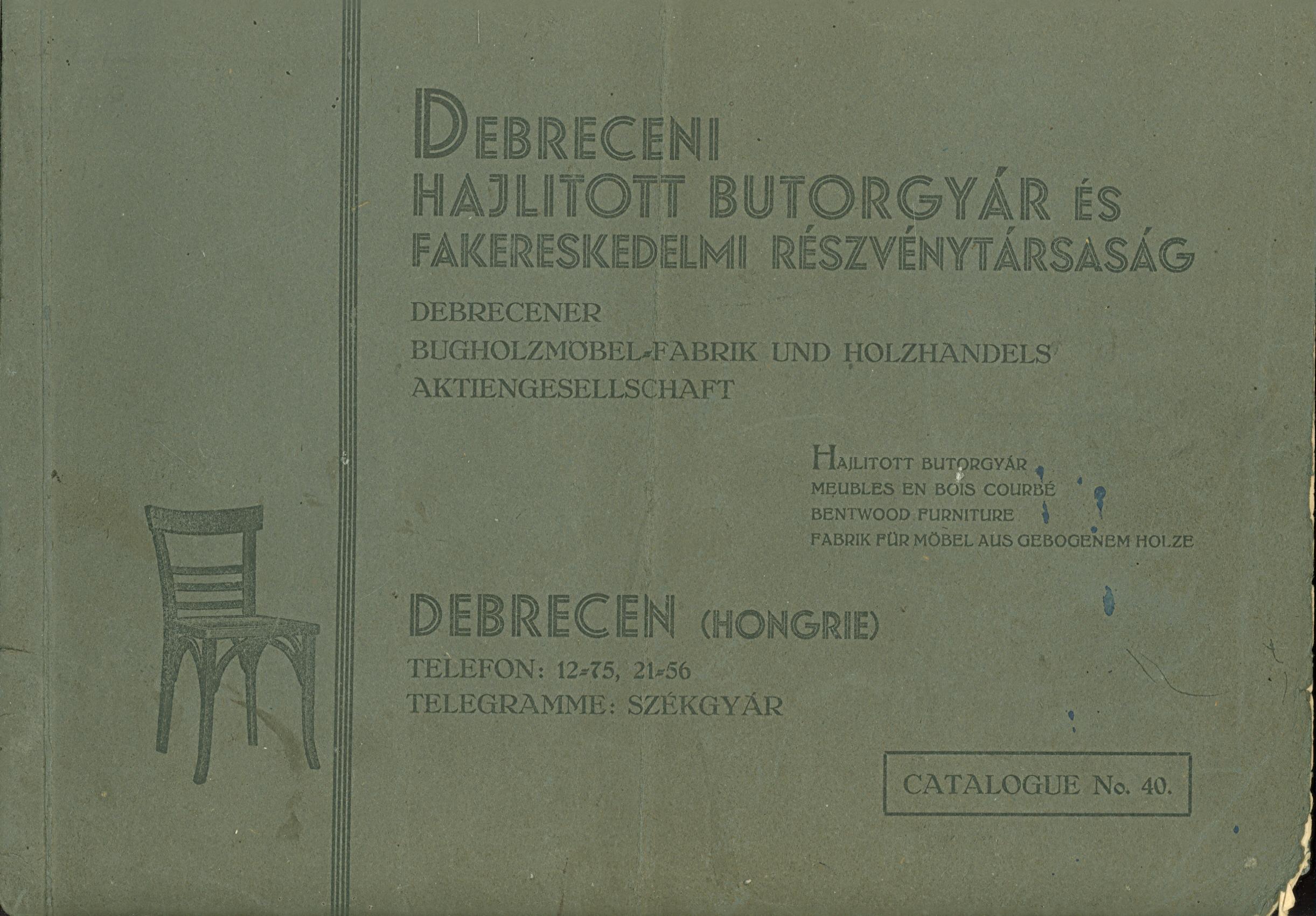Debreceni Hajlított Bútorgyár No40 – Régi árjegyzékek