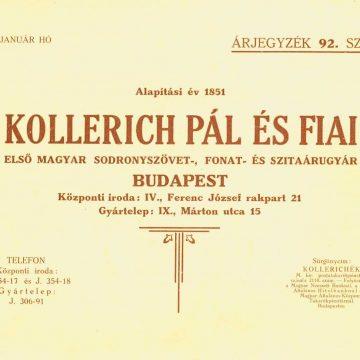Kollerich Pál drótfonat, szita