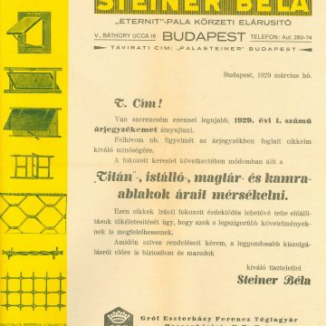 Steiner Béla építőanyag 1929