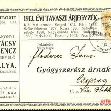 Kovácsy Ferencz bortermelő árlap