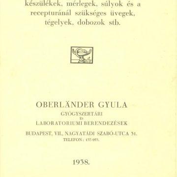 Oberländer Gyula gyógyszertári berendezések