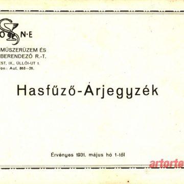 MONE Hasfűző árjegyzék 1931