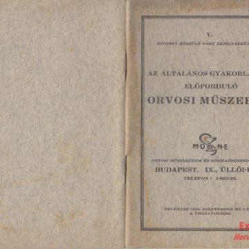 MONE orvosi műszerek 1936