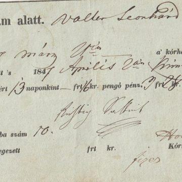Kórházi számla 1847
