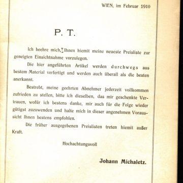 Michaletz porolók és tollseprűk 1910