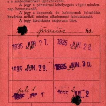 Hajdúszoboszlói Gyógyfürdő hetijegy 1935