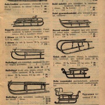 Kertész Tódor Téli Sport árjegyzék 1928