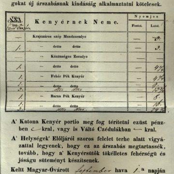 Kenyér árlista Mosony megye 1854