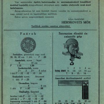 Herskovits Mór vaskereskedés 1932