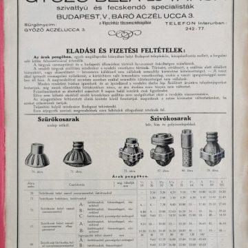 Győző Béla szivattyúk 1927